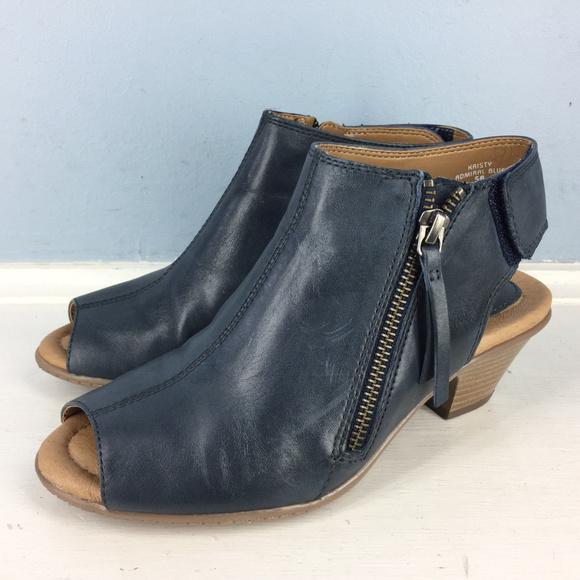 Earth Shoes | Kristy Navy Blue Peep Tpe
